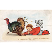 Whitney Die Cut Boy Chasing a Turkey Gobbler Vintage Thanksgiving Postcard