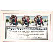 Whitney Three Turkey Gobblers in the Snow Music Vintage Thanksgiving Postcard