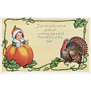 Whitney Girl in Pumpkin Very Large Turkey Gobbler Vintage Thanksgiving Postcard