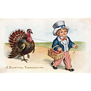Whitney Boy Uncle Sam Leading a Turkey Gobbler Vintage Thanksgiving Postcard