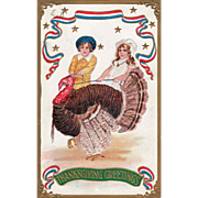 Boy and Girl with a Turkey Gobbler on a Leash Vintage Thanksgiving Postcard