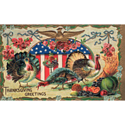 Turkeys Eagle on an Oval Shield Pink Roses Bounty Vintage Thanksgiving Postcard
