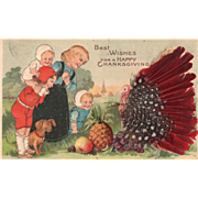 Woman Children Dog Turkey Gobbler Real Feathers Vintage Thanksgiving Postcard