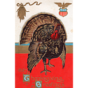 Very Large Turkey Gobbler Corn Eagle on Shield Vintage Thanksgiving Postcard