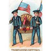 Two Sailors with U S Flags and Basket with Turkey Vintage Thanksgiving Postcard