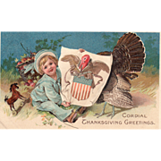 Large Turkey Gobbler Poking Head in Eagle Poster Vintage Thanksgiving Postcard