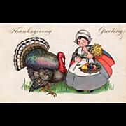 Large Turkey Gobbler Little Girl w/ Flower Fruit Vintage Thanksgiving Postcard
