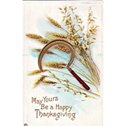 Sickle Golden Wheat Vintage Thanksgiving Postcard