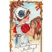 Girl in White Cap with Turkey Gobbler and Leaves Vintage Thanksgiving Postcard