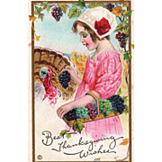 Girl in Pink Feeding Grapes to a Turkey Gobbler Vintage Thanksgiving Postcard