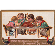 Cowboy Children Ready for Thanksgiving Meal Vintage Thanksgiving Postcard