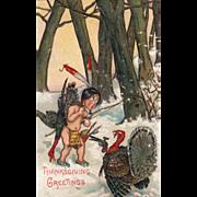 SOLD Turkey Gobbler Pointing Gun at Native American Boy Vintage Thanksgiving Postcard