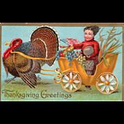 Turkey Gobbler Pulling Cart with Boy with U S Flag Vintage Thanksgiving Postcard