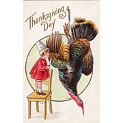 Child Standing on Chair with Knife Dead Turkey Vintage Thanksgiving Postcard