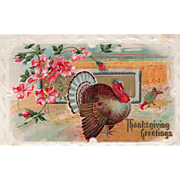 Old Fashioned Pink Roses Turkeys in a Wheat Field Vintage Thanksgiving Postcard