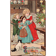 SOLD Children with Toys Looking at Christmas Tree Vintage Christmas Postcard