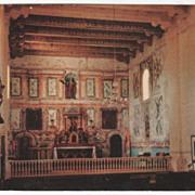 Interior Mission Santa Ines Solvang CA California Vintage Postcard