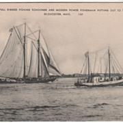 Fishing Schooner Modern Power Fisherman Gloucester MA Vintage Postcard