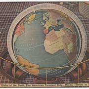 Globe of Earth Pan American Terminal Bldg Miami FL Florida Vintage Postcard