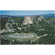 Mt Rushmore and Parking Lot from Helicopter SD South Dakota Vintage Postcard