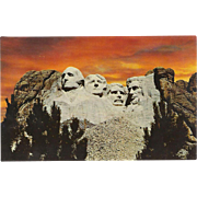 Mt Rushmore Memorial Black Hills Sunset SD South Dakota Vintage Postcard