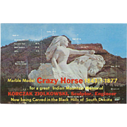 Crazy Horse Sculpture Black Hills SD South Dakota Vintage Postcard