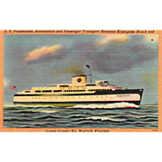 S S PocahontasTransport between Kiptopeke Beach Norfolk VA Vintage Postcard