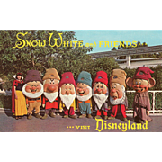 SOLD Snow White and Friends Visit Disneyland Anaheim CA California Vintage Postcard - Red Tag