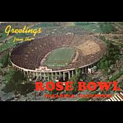 Greetings from the Rose Bowl Pasadena CA California Vintage Postcard