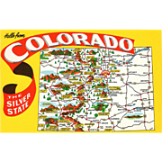 Map Hello from the Silver State CO Colorado Vintage Postcard