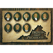 Eight Presidents from VA Virginia Vintage Postcard