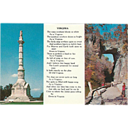 Yorktown Monument Natural Bridge Poem Virginia Vintage Postcard