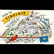 Map Greetings from VA Virginia Vintage Postcard