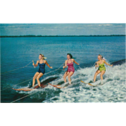 Women Water Skiers Sports Vintage Postcard