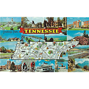 Fifteen Views Map Greetings from TN Tennessee Vintage Postcard