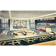 United Nations Security Council Chamber NYC NY New York Vintage Postcard