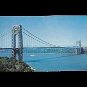 George Washington Bridge over Hudson River NYC NY New York Vintage Postcard