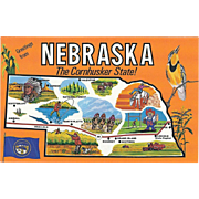Map Greetings from NE Nebraska The Cornhusker State Vintage Postcard