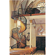 Staircase Our Lady of Light Chapel Santa Fe NM New Mexico Vintage Postcard