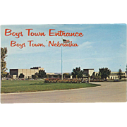Boys Town Entrance Boys Town NE Nebraska Vintage Postcard