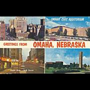 Four Views Greetings from Omaha NE Nebraska Vintage Postcard