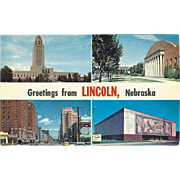 Four Views Greetings from Lincoln NE Nebraska Vintage Postcard