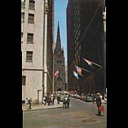 Wall Street Financial District NYC NY New York Vintage Postcard