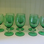 Eight Green Glass Wine Size Clear Stems