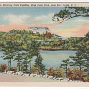 Lake Marcia Showing State Building High Point Park near Port Jervis, NY New York Vintage Postc