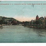 Binghamtom New York Chenango River from Court St. Bridge postcard