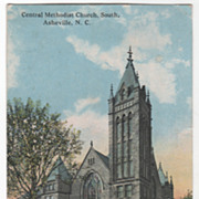 Central Methodist Church South Asheville NC North Carolina Vintage Postcard