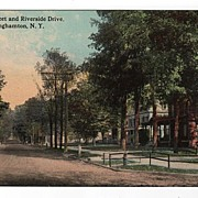 Front Street and Riverside Drive Binghamton NY postcard