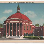 First Baptist Church Asheville NC North Carolina Vintage Postcard