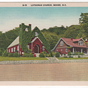 Lutheran Church Boone NC North Carolina Vintage Postcard